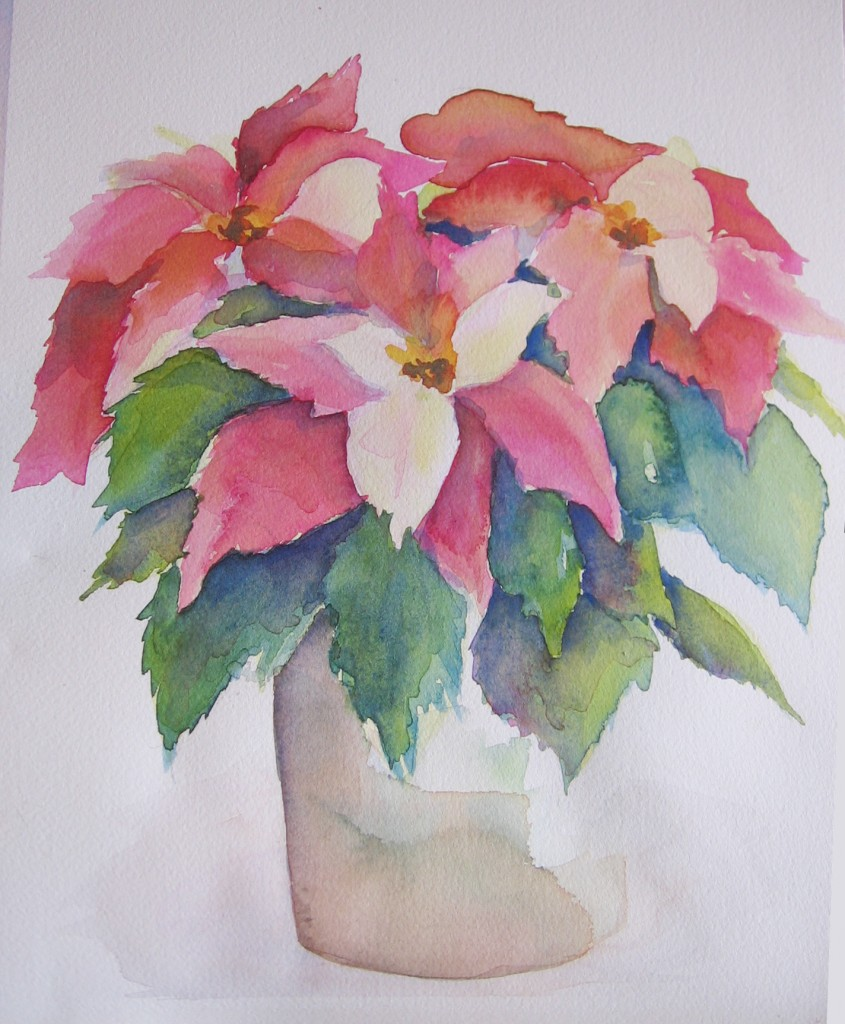 Poinsettia watercolor step by step sweetbriar sisters for Watercolor painting step by step
