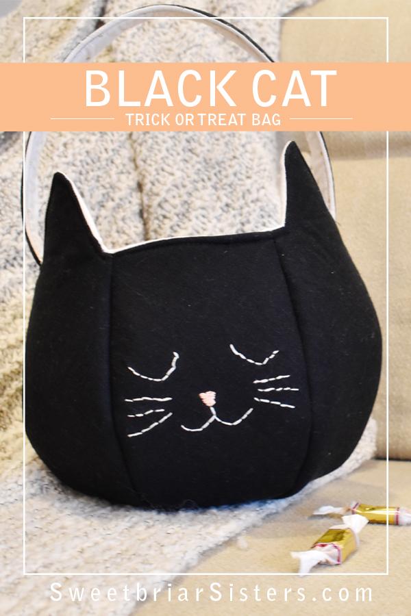 black cat trick or treat bag